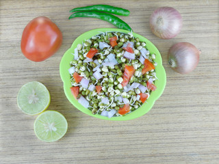 Salad of Sprouted Lentils and tomato, onion and chili