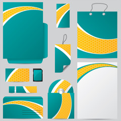 Business set with hexagon wave design