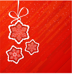 Christmas card with snowflakes on red background, Xmas card