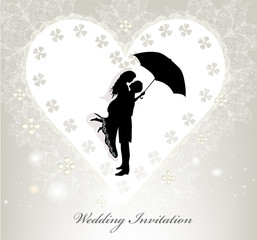 Elegant wedding invitation with vector silhouette of  young  bri