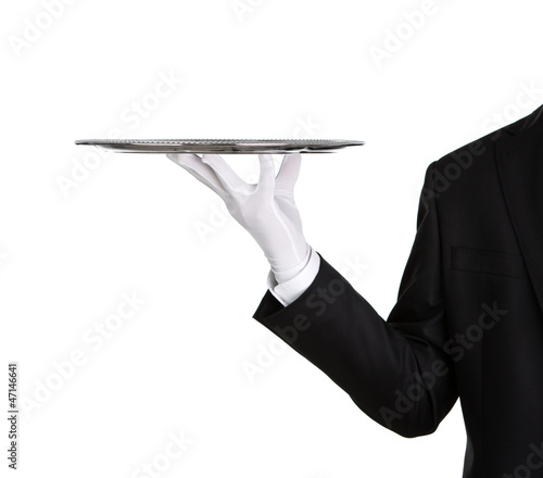 Waiter holding empty silver tray isolated on white background - 47146641