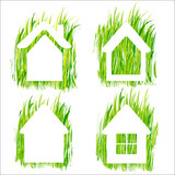 Green grass home vector icons set 1.