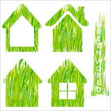 Green grass home vector icons set 2.
