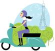 Scooter girl in Paris