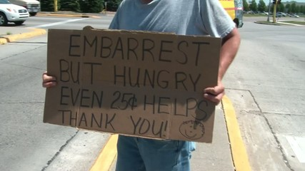 Homeless Man Holding Sign Tracking
