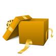Geschenk, Box, Geschenkpaket, Paket, Kiste, offen, Ocker, Braun