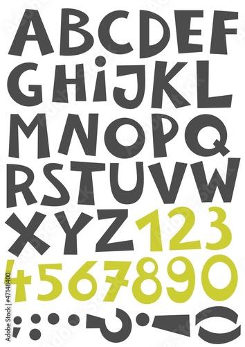 szary-alfabet-zielony-zestaw-cyfr-drukowany-komplet