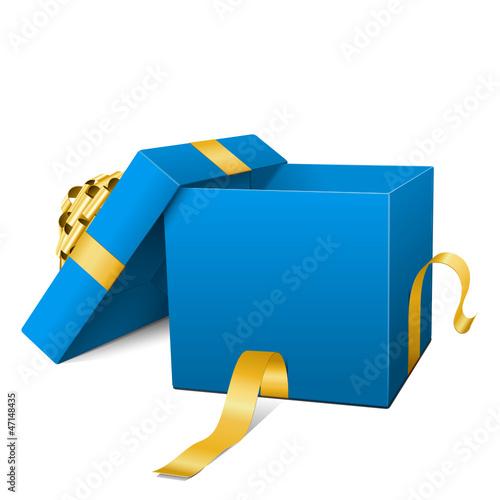 Geschenk, Geschenkpaket, Box, Kiste, offen, Blau, Hellblau, 3D