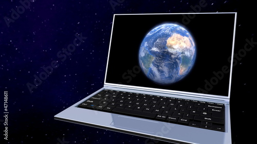 laptop in space   with alpha black and white