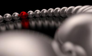 3D Kugeln im Kreis - Chrom Rot 01