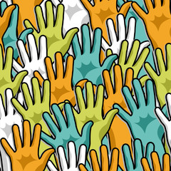 Democracy hands up pattern