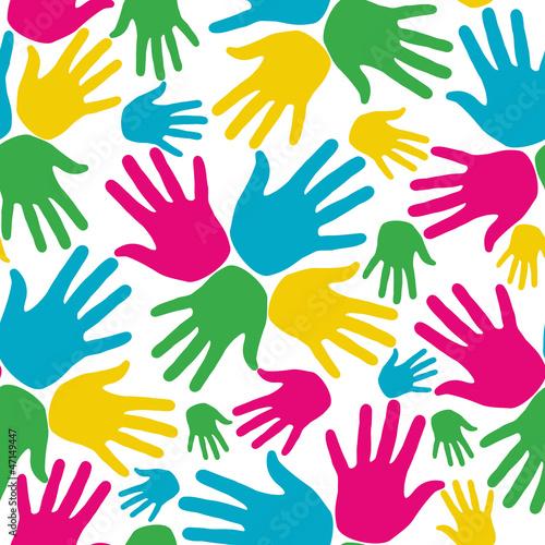 Social diversity hands seamless pattern