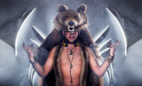 Scary man in a bear coat with scar poster