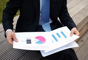 Unternehmensberater analysiert Diagramme