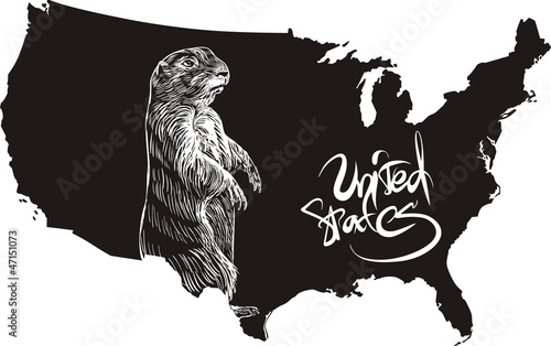 Marmot and U.S. outline map