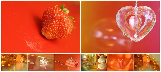 Valentine collage with heart, strawberry and gift