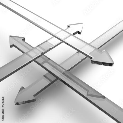 Transparente 3D Pfeile aus Glas in vier Richtungen  3