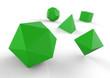 Platonische Körper in 3D - Edel Grün 2