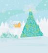 Leinwandbild Motiv winter landscape - vector