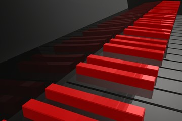 Red keys on the black piano