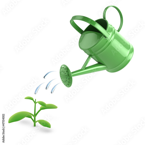 Watering can waters seedling