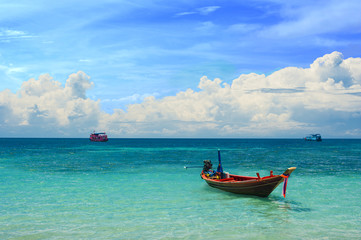 Taxi boat in the tropical paradise sea, Koh Tao, Thailand
