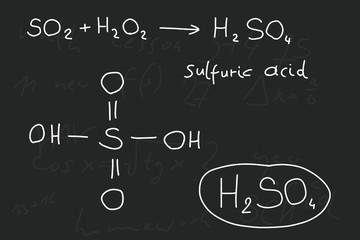 Hand written inorganic chemistry lesson. Sulfuric acid.