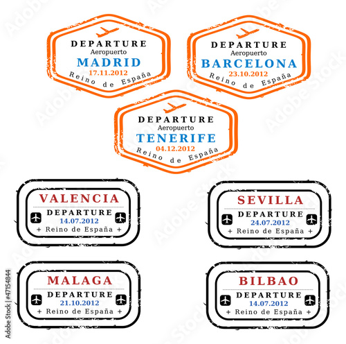 Spain visa stamps - Madrid, Barcelona, Tenerife