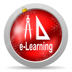 e-learning red glossy christmas icon on white background