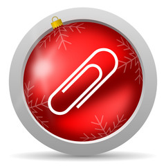 paper clip red glossy christmas icon on white background