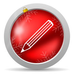 pencil red glossy christmas icon on white background