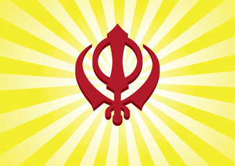 Sikh Symbol- Khanda - Halo Background