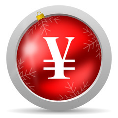 yen red glossy christmas icon on white background