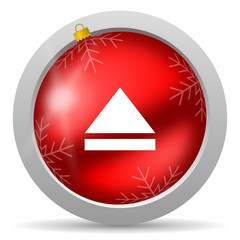 eject red glossy christmas icon on white background