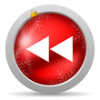 scroll red glossy christmas icon on white background