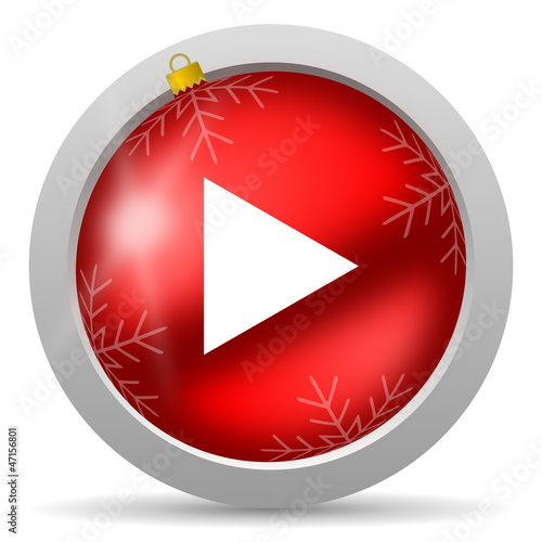 play red glossy christmas icon on white background