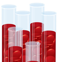 Blood cell many test tubes vector