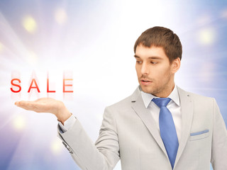 sale word on the palm