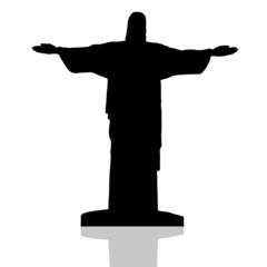 statue of Christ the redeemer in Rio de Janeiro vector