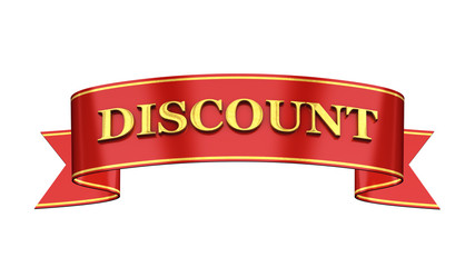 Red and gold promotional banner , Discount