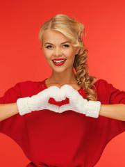 lovely woman showing heart shape