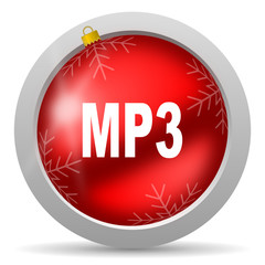mp3 red glossy christmas icon on white background