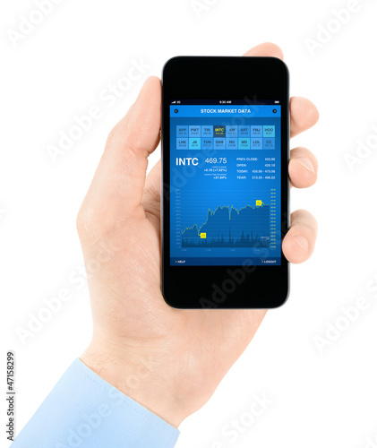Stock exchange application on smartphone