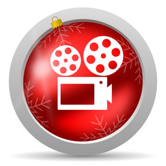 cinema red glossy christmas icon on white background