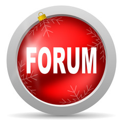 forum red glossy christmas icon on white background