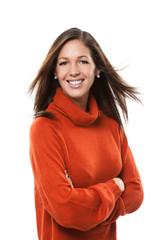 Hübsche Frau im orangen Pullover
