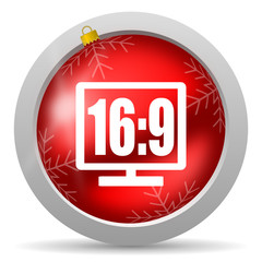 16 9 display red glossy christmas icon on white background