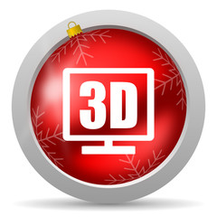 3d display red glossy christmas icon on white background