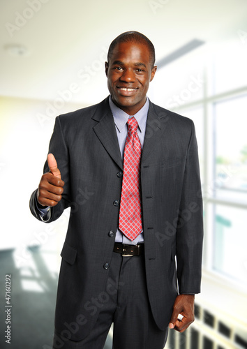 Young African American Businessman giving the okay sign