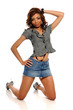 Young African American Woman wearing a mini skirt